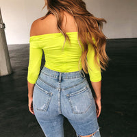 Neon Fluorescent Green Sexy Women Bodysuits Black White Bodycon Skinny Club Party Bodysuit Off Shoulder Body Mujer Romper PR154G