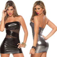 Women Sexy Bandage Bodycon Mini Dress Leather Cocktail Party Clubwear Fashion