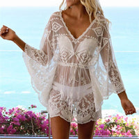 Ladies Dresses Fashion Summer Long Sleeve Beach Bikini Cover Up Lace See-through