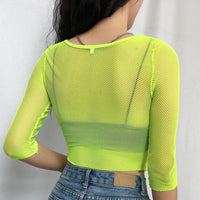 Women Mesh Sheer T-shirt Fashion Sweet Pink Crop Top 2019 Summer Femme Long