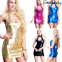 Thefound Fashion Sexy Women Leather Wet Look Mini Bodycon Dress Lingerie Clubwear Plus Size