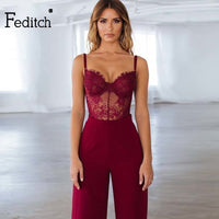 Feditch Sexy Jumpsuit Lace Spaghetti Straps Backless Female Jumpsuit Romper Casual