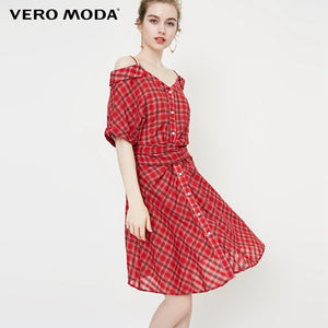 Vero Moda 2019 New Women's Off-shoulder Plaid Lace-up Elbow 1/2 Sleeves Shirt Dress