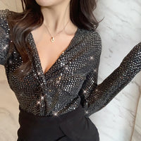 Sexy V-Neck Tshirt Pullover 2019 New Spring Elastic Cotton Sequined Women
