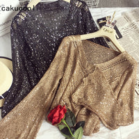 New Sequins Shiny Sweater Long Flare Sleeve V neck Gold Jumper Slim Knit Shirt