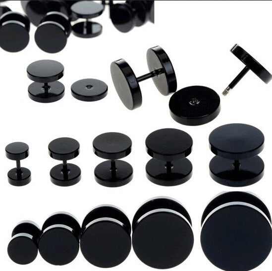 2pcs Black Stainless Steel Fake Cheater Ear Plugs Gauge Body Jewelry