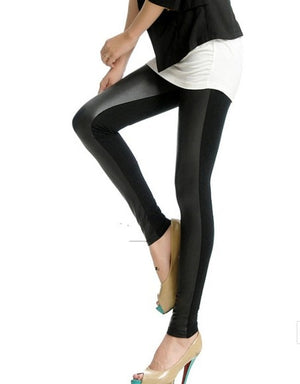 Womens Fashion Leather Patch Legging for Women Jean Pants