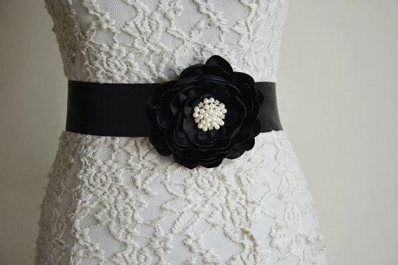 Black satin flower sash Women Belt Rhinestone Wedding Belt Pearls and Crystal Beaded Sash Belt Bridal Accessories