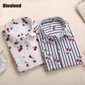 Dioufond New Floral Long Sleeve Vintage Blouse Cherry Turn Down Collar Shirt