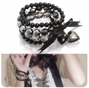 Fashion Full Black Crystal peach heart bow beaded ribbon multi-layer bracelets