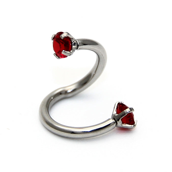 2PCS Stainless Steel S Shaped Fashion Crystal Nose Piercing Twist Eyebrow Lip Ring Nose Ear