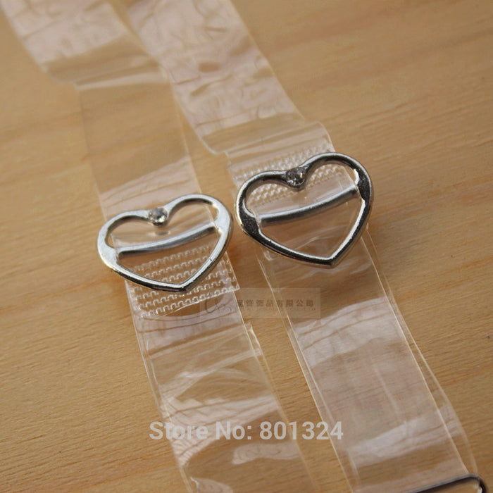 1.5cm Wide Transparent Frosted Love with rhinestones Women's Bra Straps Baldric Adjustable Intimates