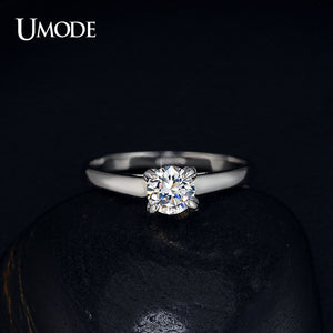 UMODE Wholesale Plating Classic Uplifted 4 Prong Single Zirconia Anillos Mujer