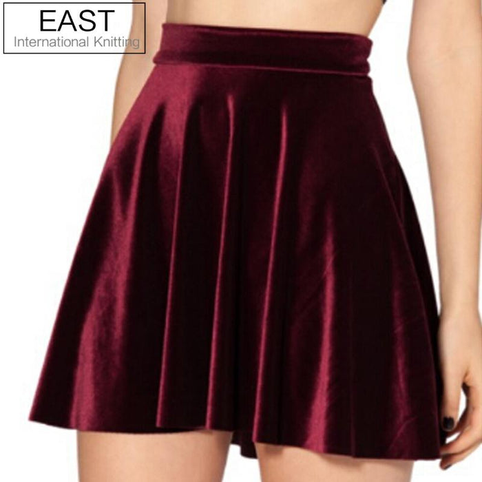 Women High Waist Velvet Pleated Skirts New Fashion Velvet Black Short Sexy Skater Skirt