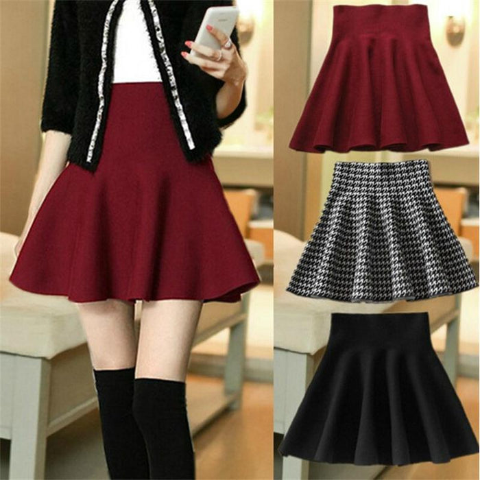 2015 New Autumn Winter Short Skirts Woman High Waist Knitting Woolen Skirt Female Plus Size Pleated Skirt