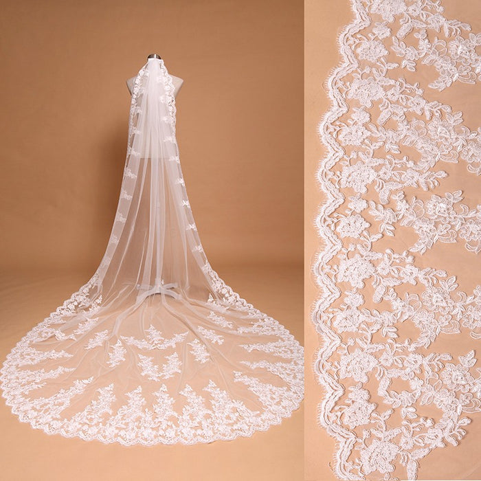 3 Meter White Ivory Cathedral Wedding Veils Long Lace Edge Bridal Veil + Comb