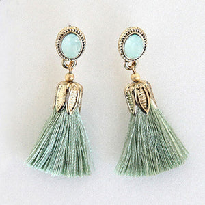 Hot Fashion Color Oval Thread Long Tassel Earrings Rhinestone Drop Statement