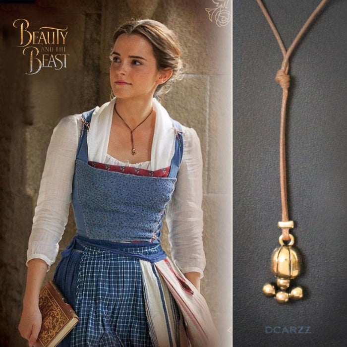 Lariat Necklace Beauty and the Beast Belle Cosplay Movie Jewelry with Leather Rope Handmade Necklace
