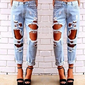 Boyfriend hole ripped jeans women pants Cool denim vintage straight jeans for girl Mid waist casual pants female