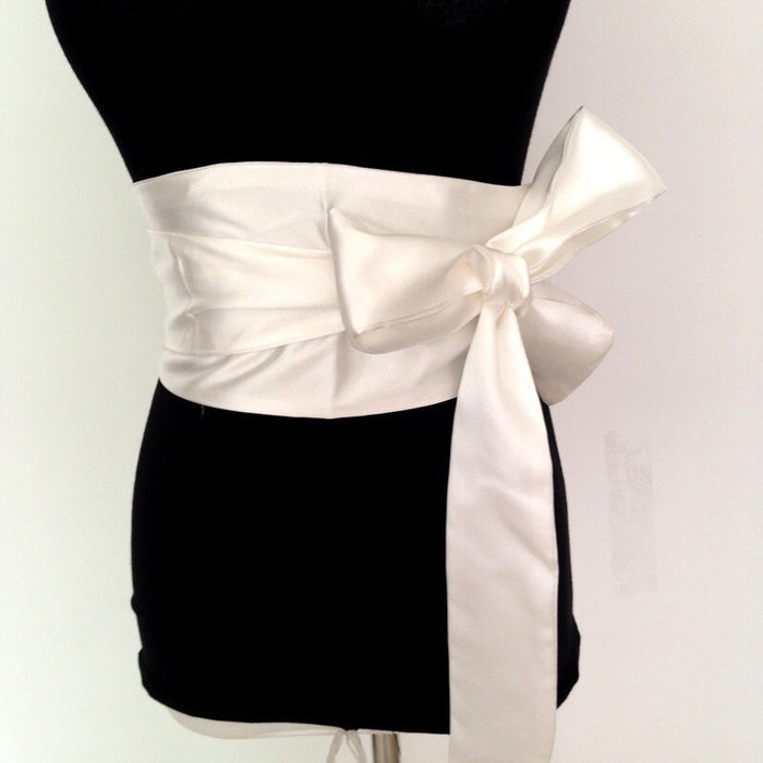 New Woman Belt Black 13cm Wide Satin Sash Wrap Tie Belts for Women Lady Cummerbund Fashion Wedding girdle 4 colors bg-009