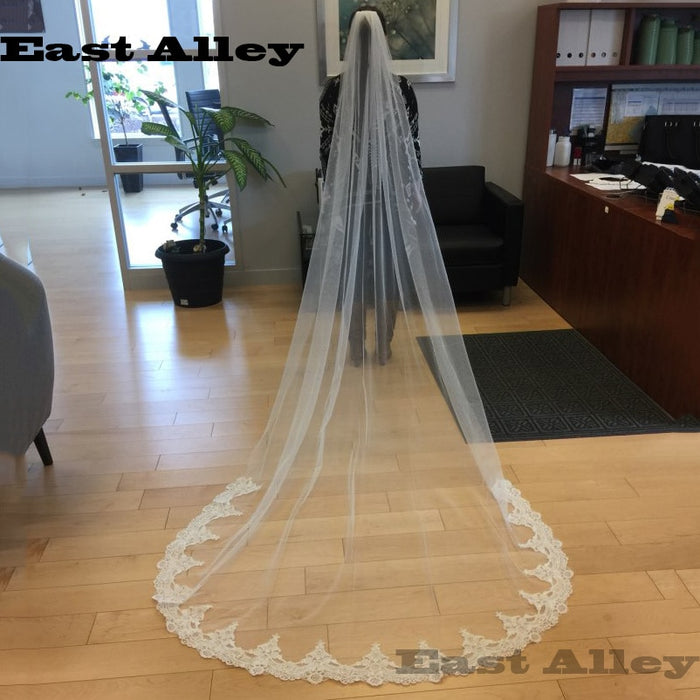 White Ivory Cathedral Length Wedding Veils One Layer Lace Veil+ Comb