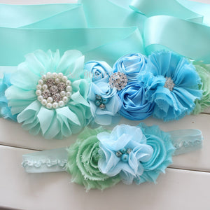 Fashion Blue flower Belt Wedding Sashes belt  with flower headband Girl Woman sash belt