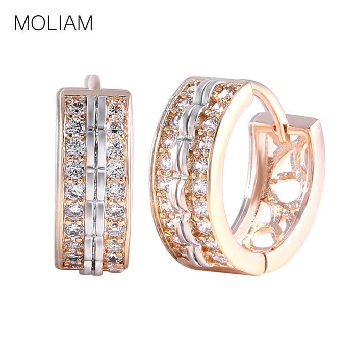 MOLIAM Fashion Jewellery Huggie Earing for Women White Cubic Zirconia