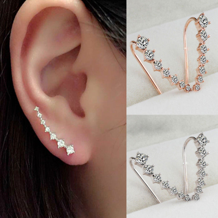 Wholesale Rainbery Bar Shape Crystal Ear Climbers Gold And Silver Fashion