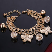 Gold Color Multi-layer Chain Bracelet Clear Cubic Crystal Ball Beads Bracelet