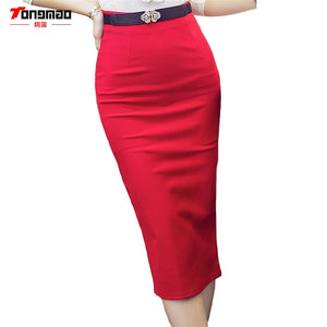 2017Hot Sale Ladies Skirt OL Women Slim Fitted Package hip Knee Length High Waist Straight Career Pencil Skirts Plus Size S-5XL