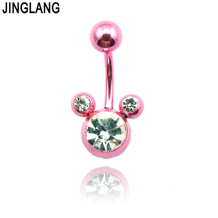 Belly Button Rings Dangle Brand New Belly Button Rings Stainless Steel Barbell Pink Navel Body Piercing Jewelry