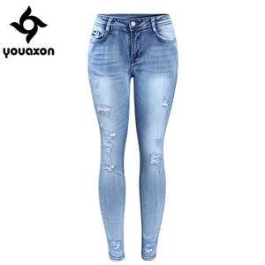 2096 Youaxon Classic Distressed Jeans Women Mid Waist Stretchy Ripped True Denim Pants Skinny Pencil Jeans Woman