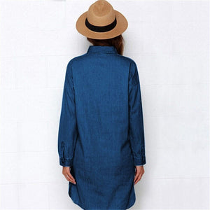 Casual Women Denim Shirt Dress Summer Irregular shirt dress Long Sleeve