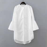 White Shirt Dress Summer Fashion Flare Sleeve Elegant Woman Dress Casual