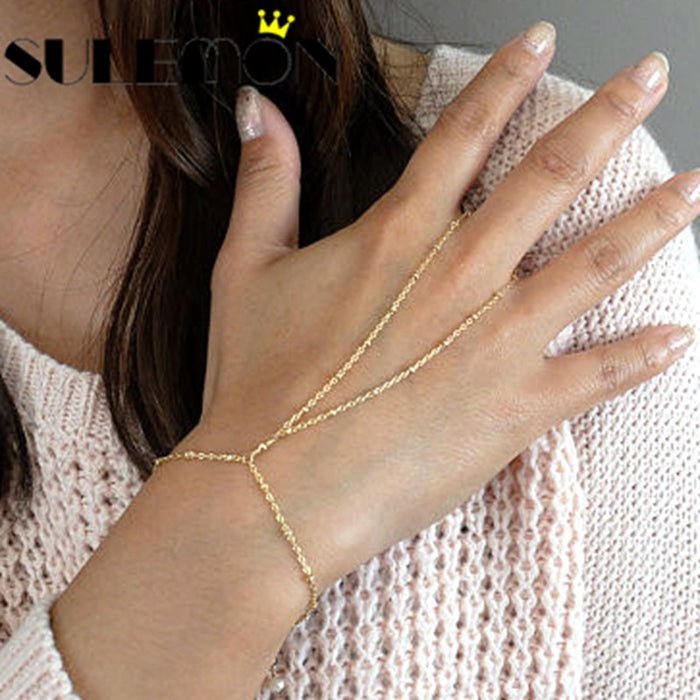 Charm Fine Chain Bracelets For Women Gold Color Bead Chain Bracelet Cross