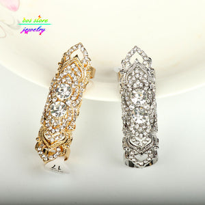 Unique !Top Quality Genuine Gold Filled Crystals Sheild Resizable Full Finger Rings