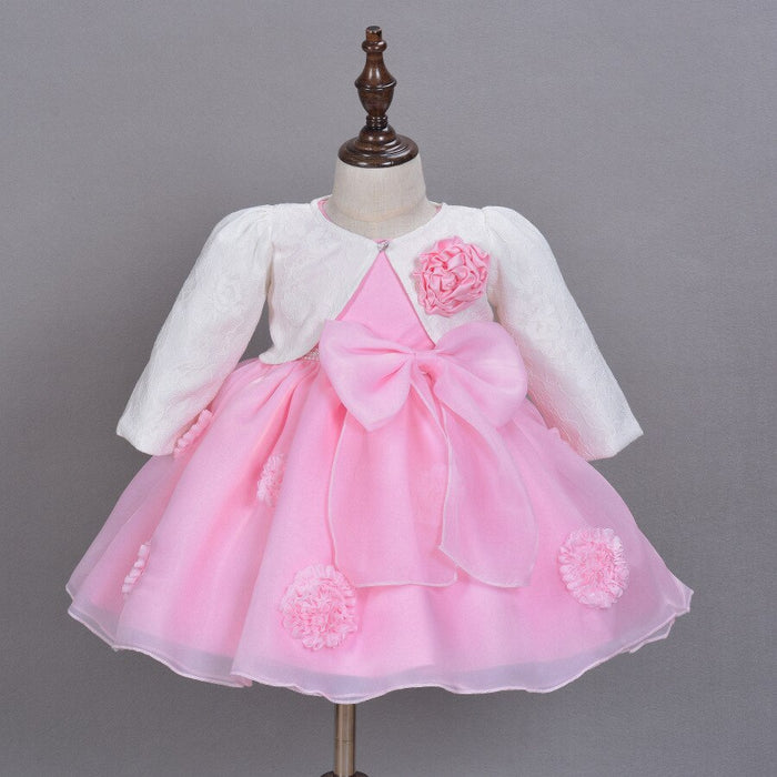 2016 New Hot Sell Pink Baby Girls Dress 3D Flower Applique Tutu Baby Dresses For 1-2 Years Birthday Part
