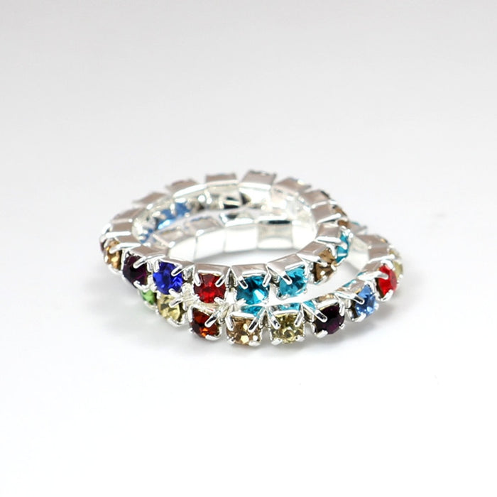Resizable Ring Elastic 925 Stering Silver Rainbow Ring CZ Crystal toe ring 3mm