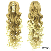 Soowee 180g Long Blonde Curly Clip In Hair Extensions Pieces Pony Tail High Temperature Fiber Synthetic Hair Claw Ponytail