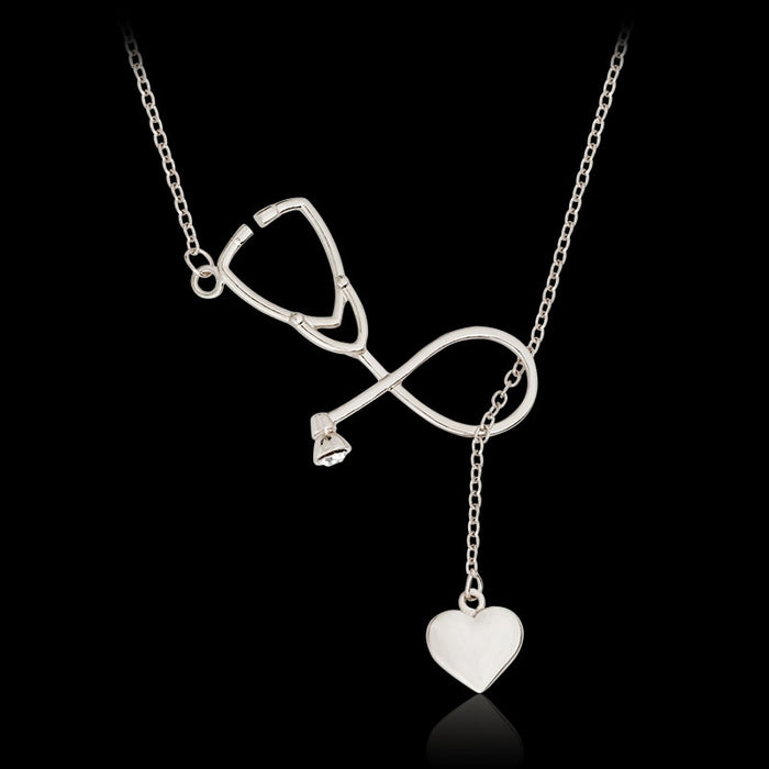 Stethoscope Heart Pendant Lariat Necklace For Doctor Nurse Medical Student Gift Gold Silver Medical Jewelry