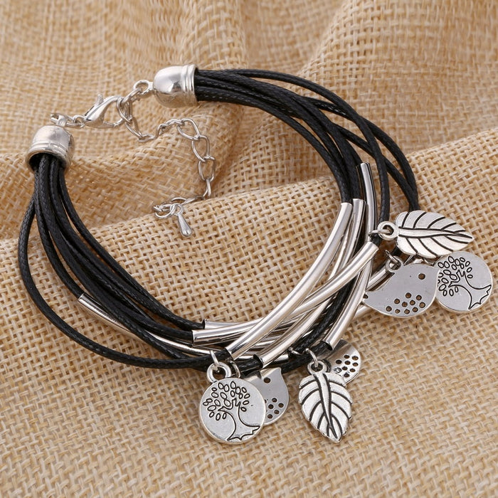 MINHIN Black/Brown/Beige Colors Multi Layers Leather Bracelet Women