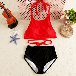 High quality Summer Beach Surfing Sport Women Bikini Swimwear Hot Red Sexy Girl Top Neck Bandage Swimsuit Solid Bathing suit