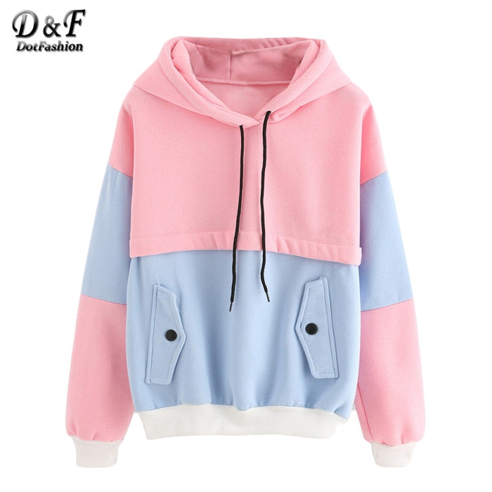 Dotfashion Color Block Drawstring Hooded Tops Pink and Blue Pullovers Women Long Sleeve Patchwork Sweatshirt