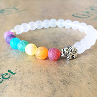 Alloy Elephant with 7 Chakra Scrub white transparent Stone Beads Bracelet