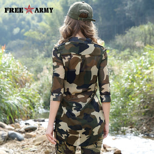 Free Army Women's Camouflage Chiffon Shirts Tops Tees  Five Sleeves Designer