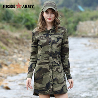 Camouflage Long Section Shirt Women Long Sleeve Clothing Top Quality Slim Fit