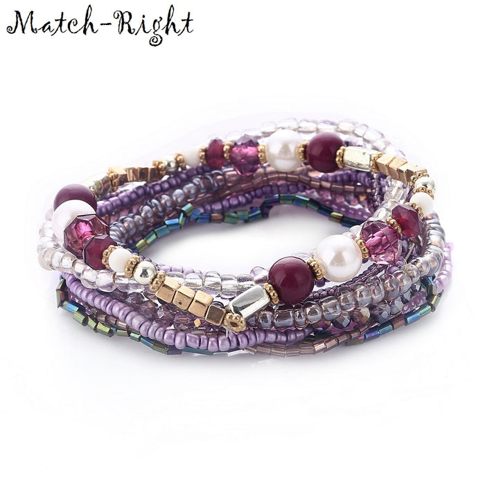 Match-Right Women Bohemia Jewelry of Multilayer Elastic Weave Set Bracelets