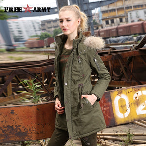 2017 Winter Women Wadded Jacket Female Medium-Long Coat Fur Collar Thickening