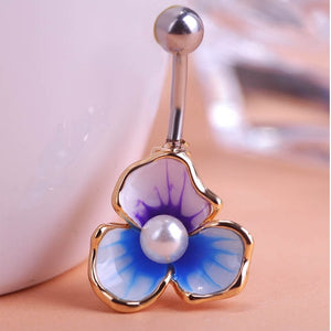Beads Flowers Piercing Navel Belly Button Rings Body Piercing