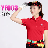 brand PGM. women's golf clothes golf T shirt short-sleeve polo shirt slim Workout Polo Shirt, Fitness Gym Sport Dri-Fit YF003